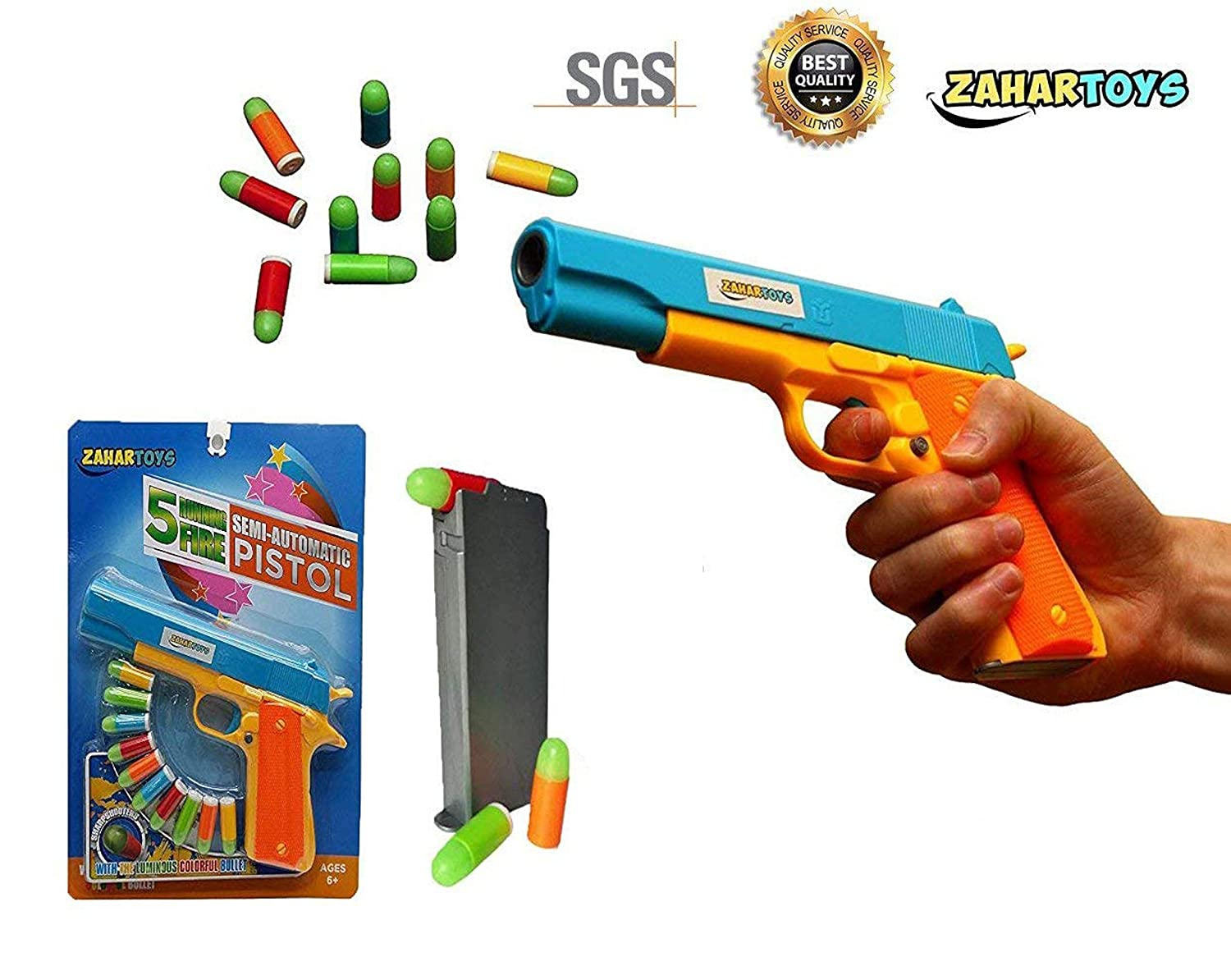 Zahar Toys Realistic Colt 1911 Toy Gun With 10 Colorful Pistol Parts Diagram To Download Soft Bullets Ejecting Magazine Slide Action For Training Or Play Games