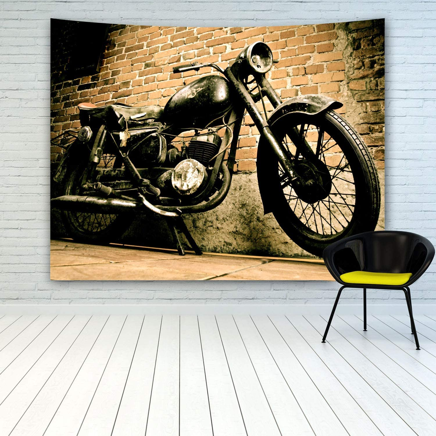 MINAKO Vintage Retro Motorcycle Tapestry Wall Hanging,Old Grunge Motorbike Near Antique Brick Wall Tapestry for Bedroom Living Room College Dorm Home Decoration Wall Decor Art Tapestries