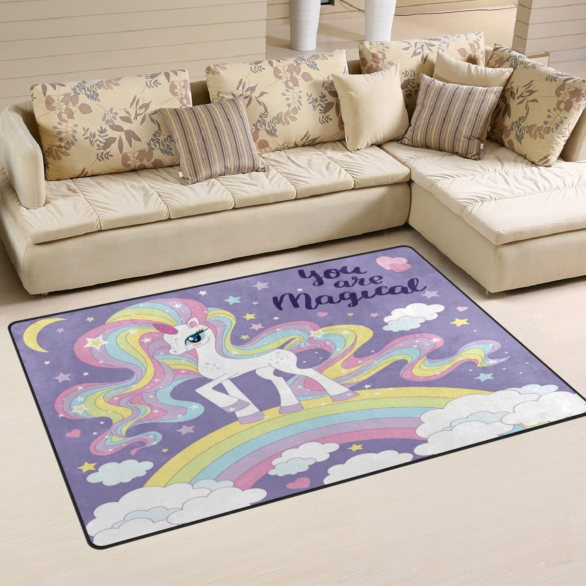 WOZO Beautiful Unicorn Rainbow Cloud Area Rug Rugs Non-Slip Floor Mat Doormats Living Dining Room Bedroom Dorm 60 x 39 inches inches Home Decor