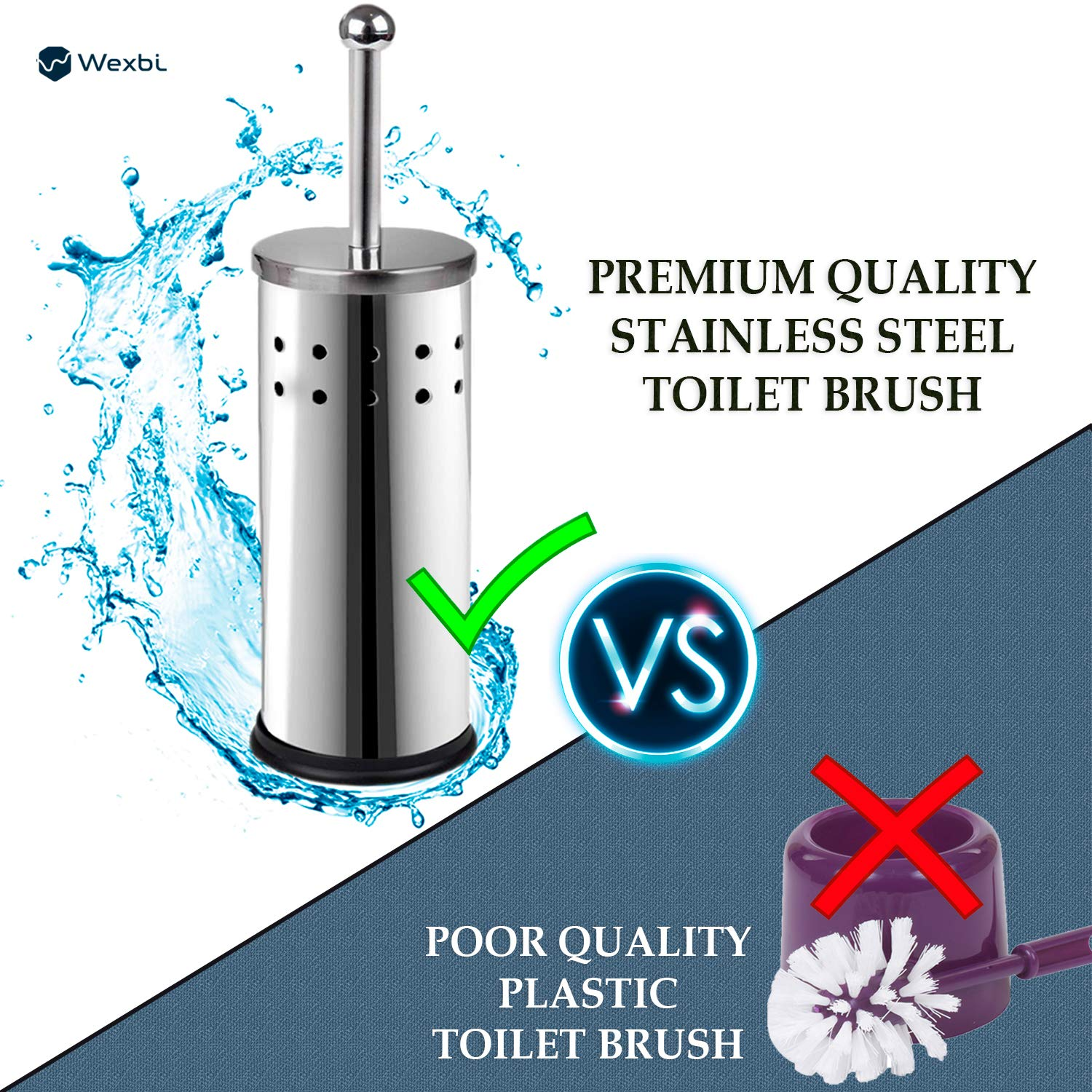 Wexbi Toilet Brush, Durable Stainless Steel Toilet Brush, Elegant Toilet Brush and Holder, Perfect Toilet Bowl Cleaner Brush, Indispensable Part of Bathroom Accessories