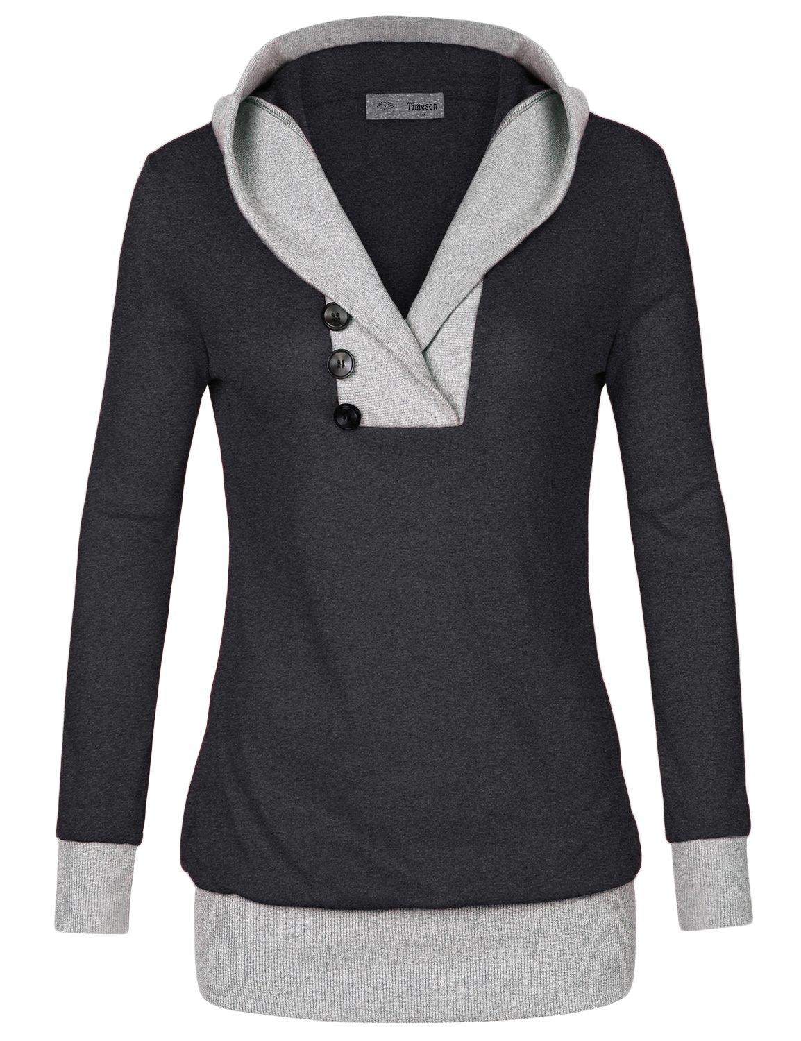 Timeson Women Hoodies, Womens Long Sleeve Shawl Collar Sport 2-in-1 Knitted Panel Hooded Casual (Large,Carbon Black)