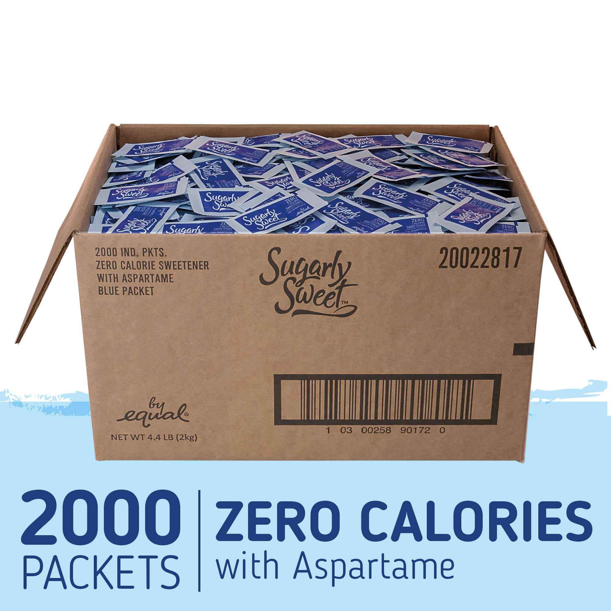 SUGARLY SWEET Zero Calorie Sweetener Packets with Aspartame, Sugar Substitute, Sugar Alternative, Blue Sweetener Packets, 2,000 Packets