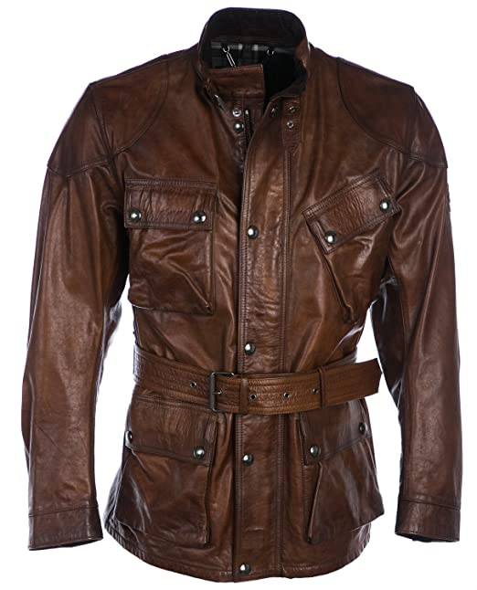 ad64324a6107a5 Belstaff Uomo Giacca in Pelle Panther 52 Cognac: Amazon.it: Abbigliamento