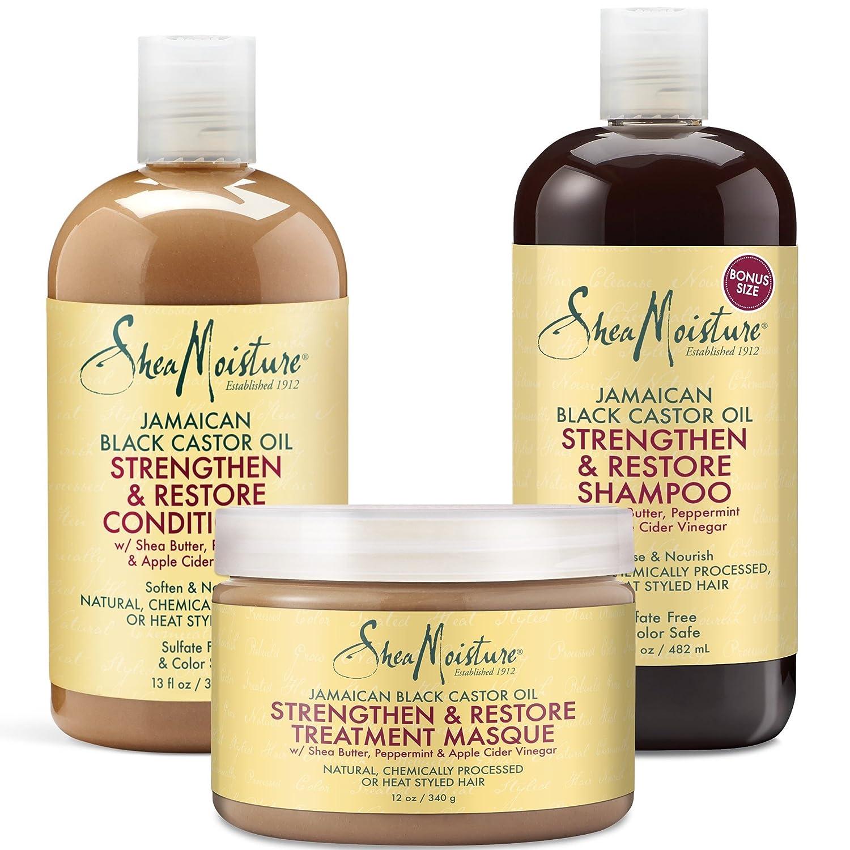 Shea Moisture Jamaican Black Castor Oil Hair Care Trio – Strengthen & Restore – Shampoo 16.3 Oz, Conditioner 13 Oz & Treatment Masque 12 Oz.