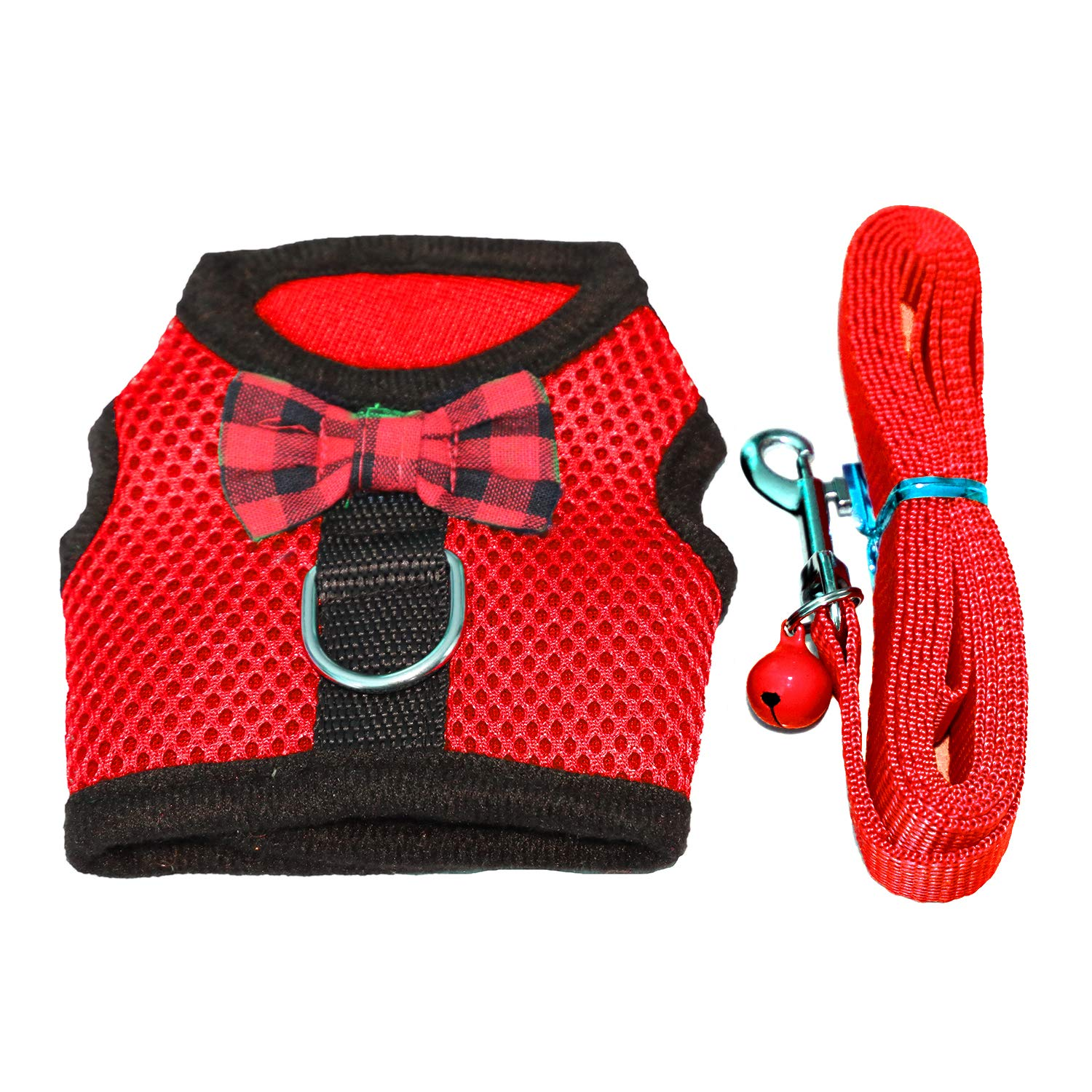 No Pull Comfort Padded Vest for Small Pet RYPET Small Animal Harness and Leash Soft Mesh Small Pet Harness with Safe Bell