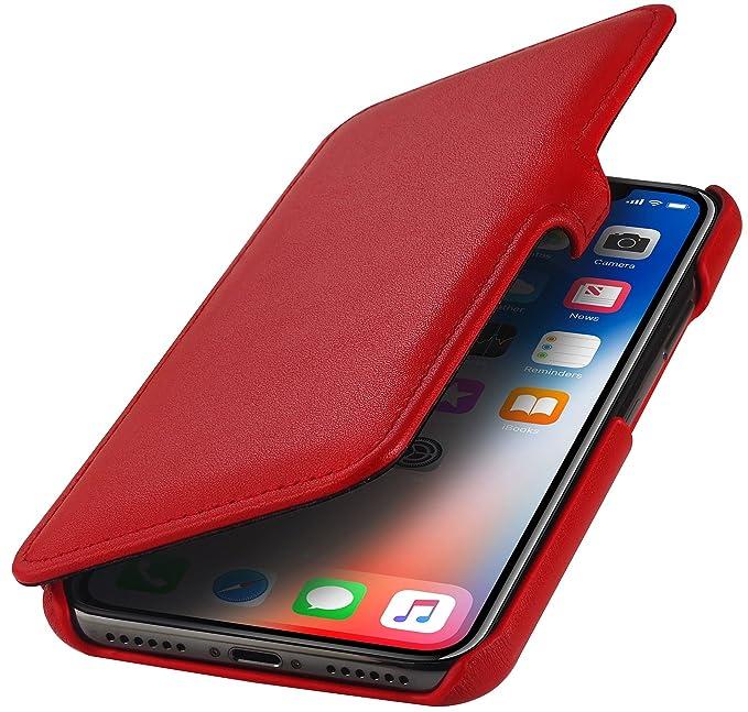 7 opinioni per StilGut Custodia per Apple iPhone X/iPhone XS a Libro in Pelle, Rosso Nappa con