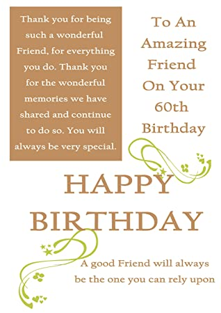 Friend 60th birthday card with removable laminate female amazon friend 60th birthday card with removable laminate female bookmarktalkfo Choice Image
