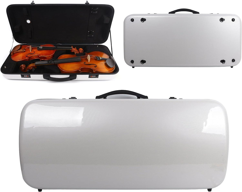 Yinfente - Funda doble para violín o viola (fibra de carbono, 4/4, tamaño completo), color negro y blanco: Amazon.es: Instrumentos musicales