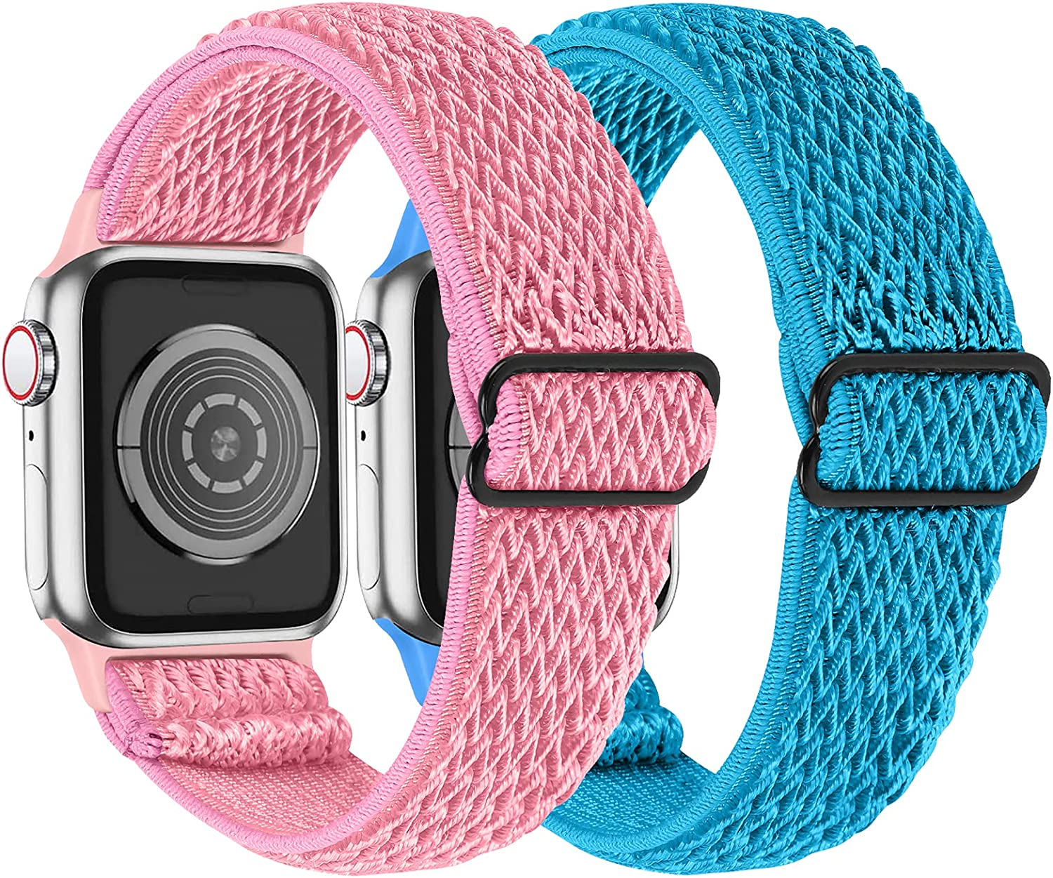 MEFEO 2 Pack Stretchy Solo Loop Strap Compatible with Apple Watch Bands 38mm 40mm 42mm 44mm, Adjustable Braided Sport Elastic Nylon Wristband for iWatch Series 6/SE/5/4/3/2/1 (Pink+Sky Blue,38mm/40mm)