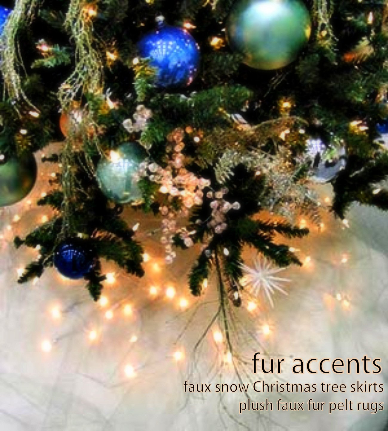 Fur Accents Christmas Holiday Tree Skirt, Plush Shaggy Faux Fur (Snow White, 70'' Diameter) by Fur Accents (Image #2)