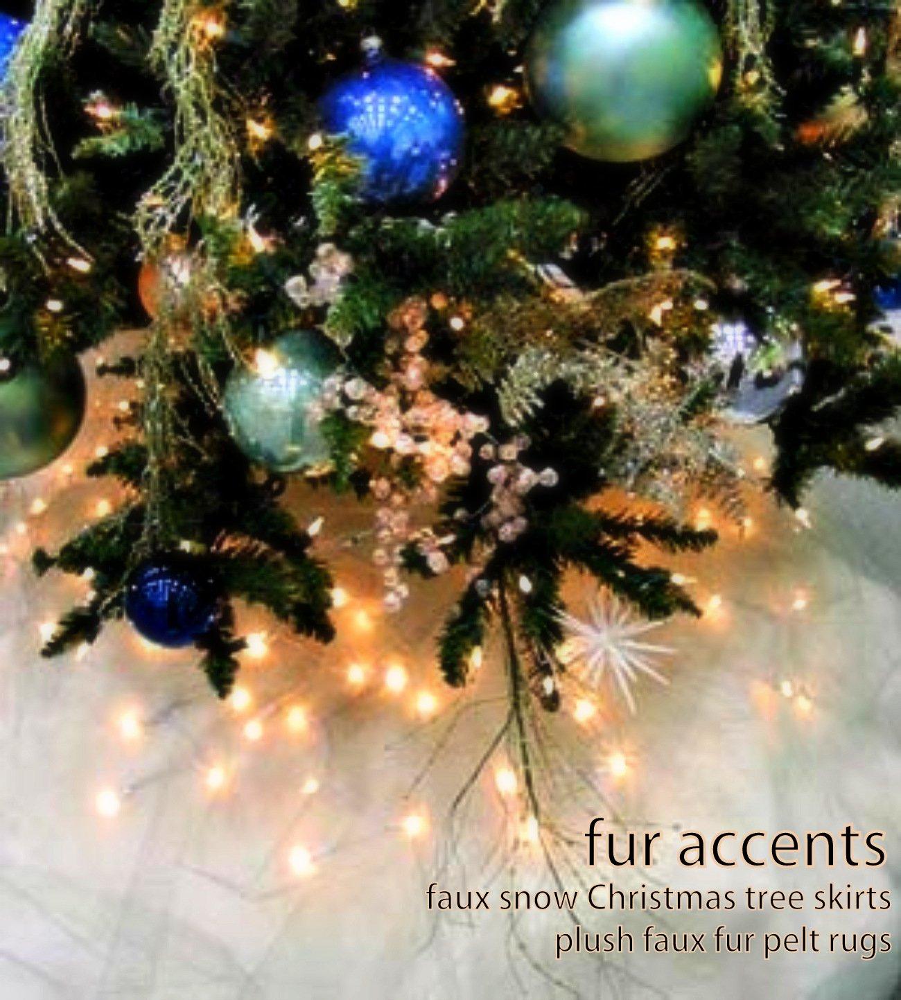 Fur Accents Christmas Holiday Tree Skirt, Plush Shaggy Faux Fur (Snow White, 36'' Diameter)