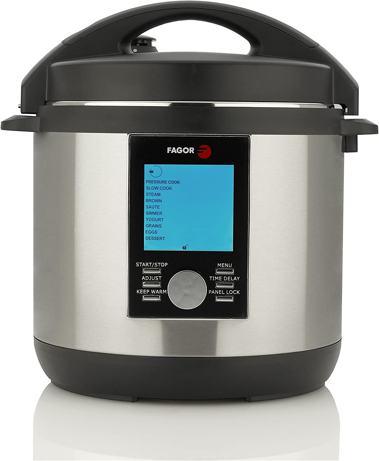 Fagor LUX LCD Multi-Cooker, 6 Quart - Digital Pressure Cooker, Slow Cooker, Rice Cooker and Yogurt Maker with 33 Cooking Programs - Stainless Steel - 935010062