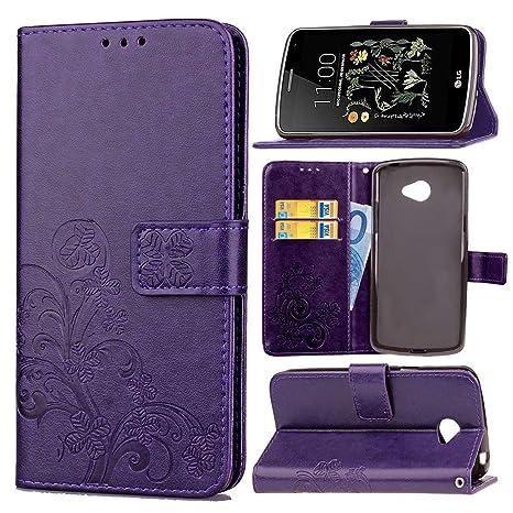 pinlu Funda para LG K5 Alta Calidad Función de Plegado Flip Wallet Case Cover Carcasa Piel PU Billetera Soporte con Trébol de la Suerte Púrpura