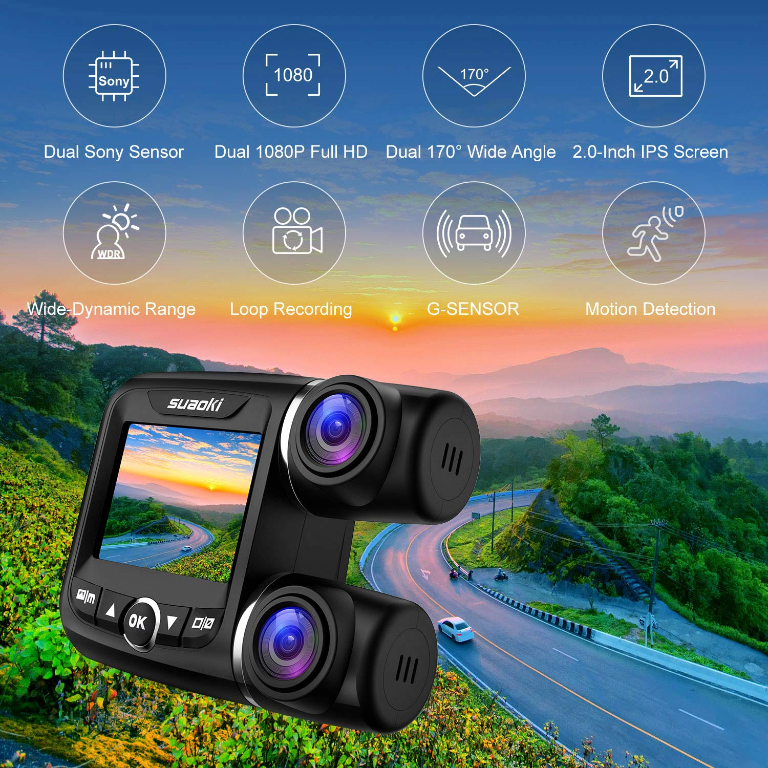 G-sensor and Loop Recording for Cars Truck Taxi SUV 340/° Wide Angle GPS Speed Monitor Supports Up to 32GB Storage Dual Dash Cam Front and Rear Full HD 1080p with Night Vision Sony IMAX323 Sensor