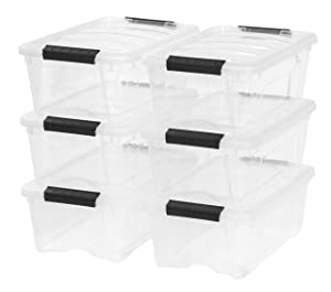 IRIS USA, Inc. TB-42 Stackable Clear Storage Box, 6 Pack 12 Quart Stack and Pull