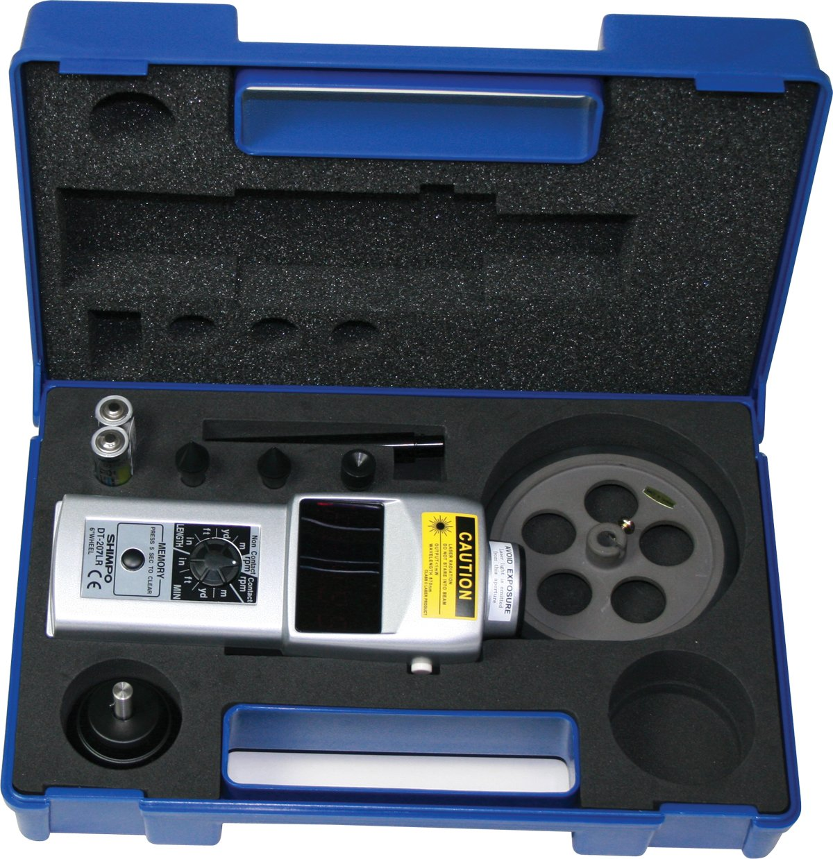 "Shimpo DT-207LR-S12 Handheld Tachometer with 12"" Wheel, LED Display, 6 - 99999rpm Range"