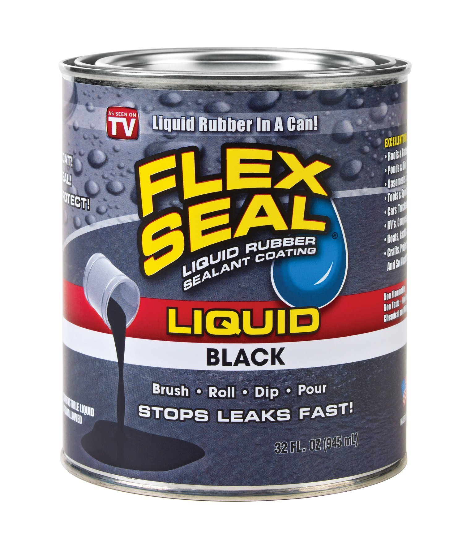 Flex Seal Liquid Rubber in a Can, 32-oz, Black by Flex Seal Liquid (Image #1)