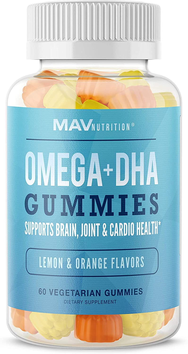 MAV Nutrition Fish Oil Omega 3 Gummies with Vitamin C for Immune Support, Brain, Joint & Cardiovascular Health, Natural Flavors, 60 Vegetarian Friendly Gummies