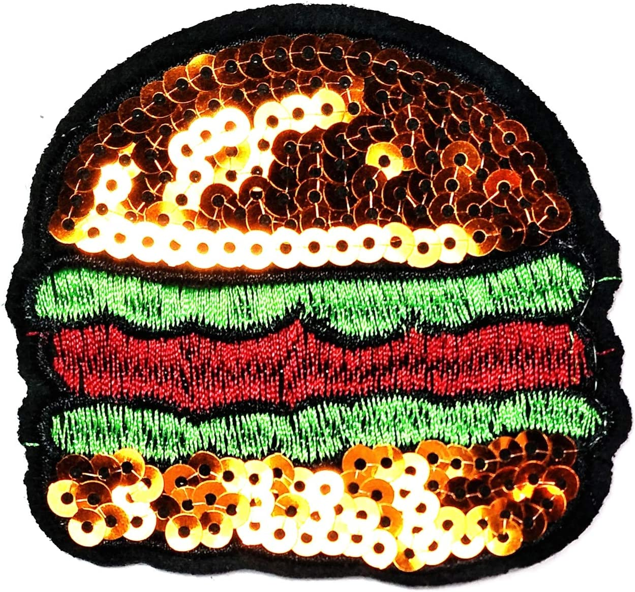England Food Hamburger Iron Sew On Embroidered Applique for Clothes Patch Cartoon Cheeseburger Hamburger Burger Fastfood Food Kids Sticker Patch (25)