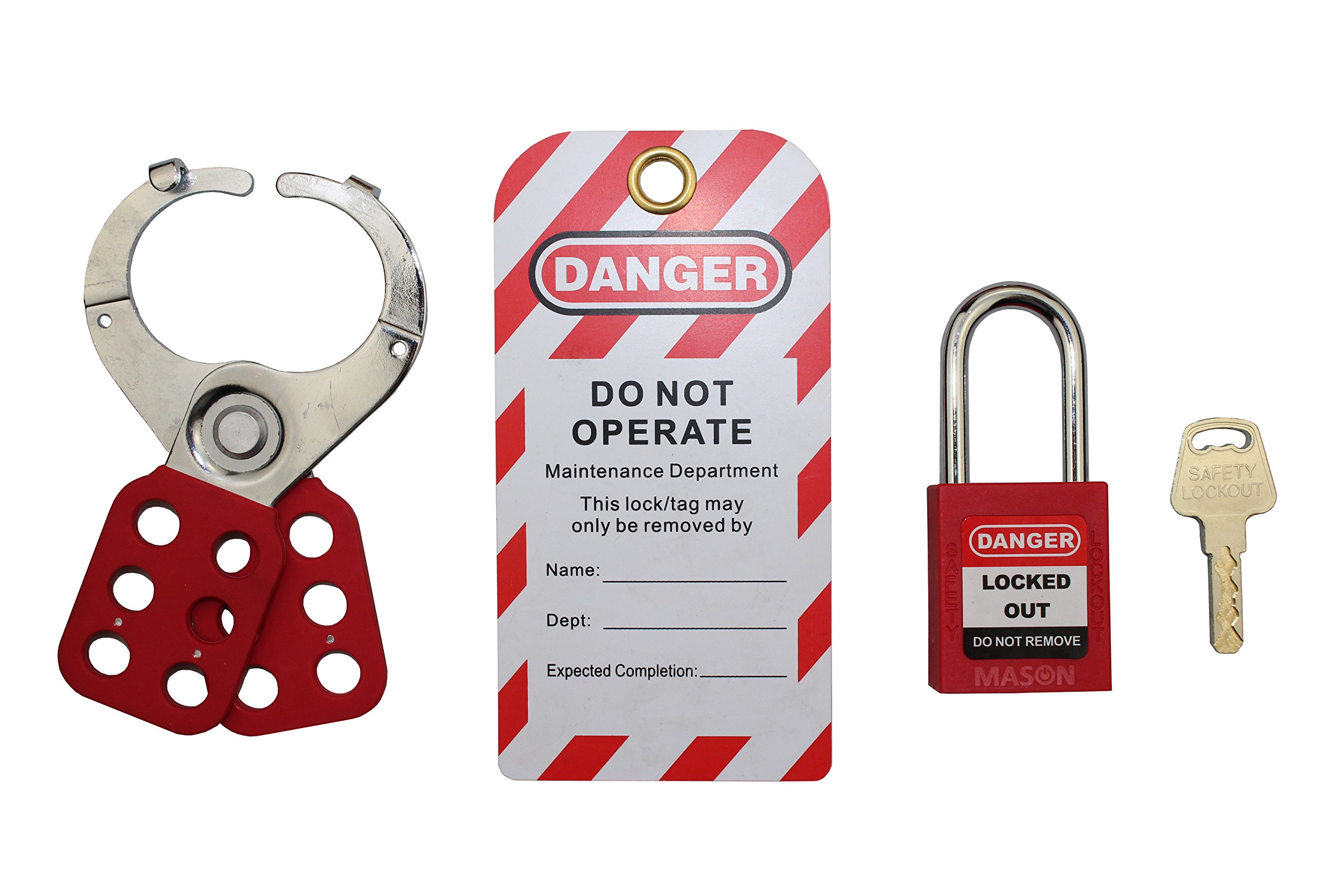 Mason Lockout Tagout Personal Starter Kit, Red Keyed Differently