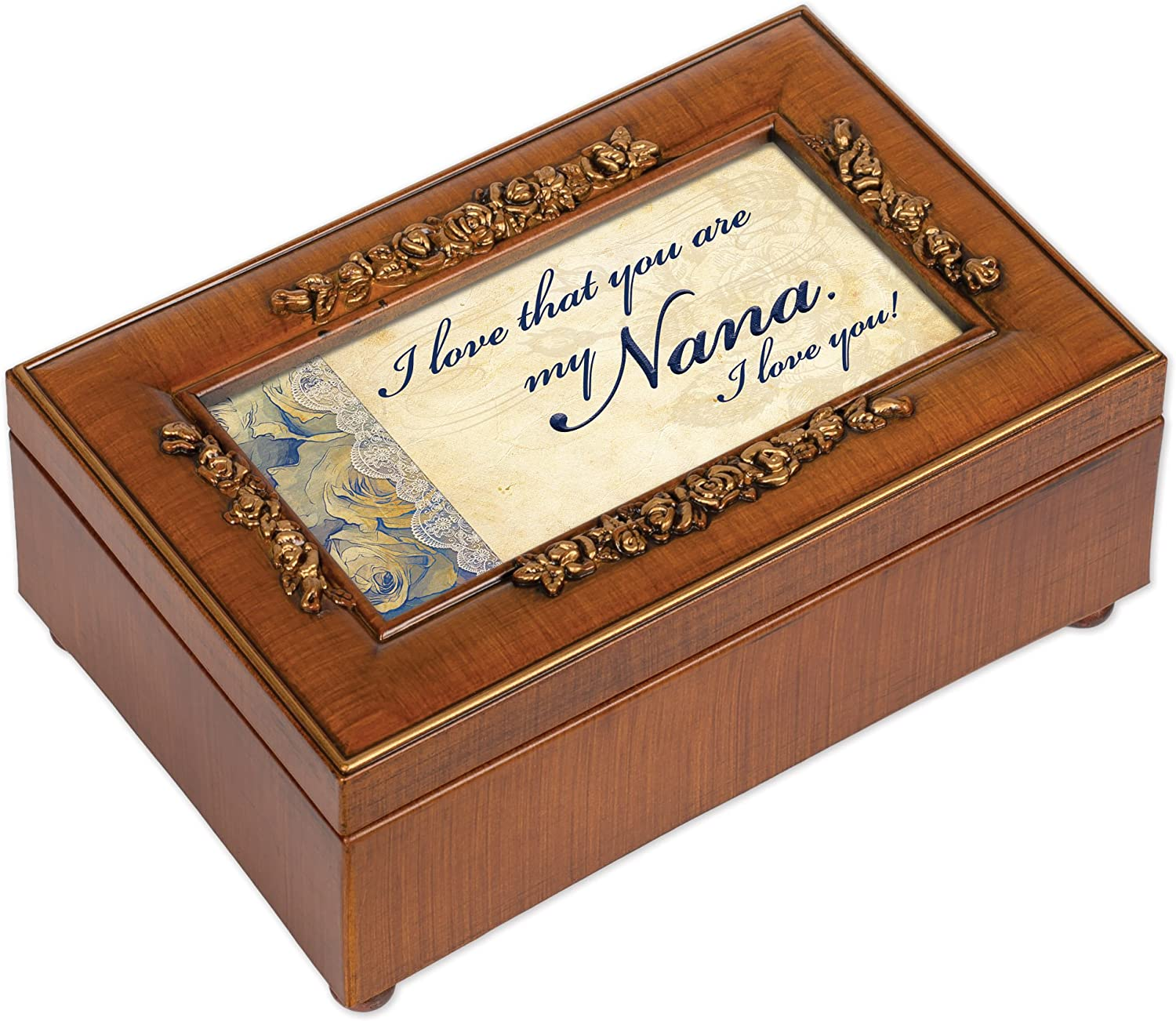 Cottage Garden Love That You are My Nana Woodgrain Embossed Jewelry Music Box Plays Wonderful World