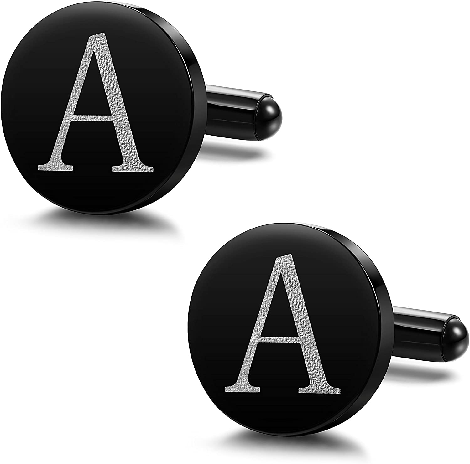 ORAZIO Mens Classic Stainless Steel Engraved Initial Cufflinks Alphabet Letter Cufflinks Formal Kit Business Wedding Shirts A-Z 26 Letter