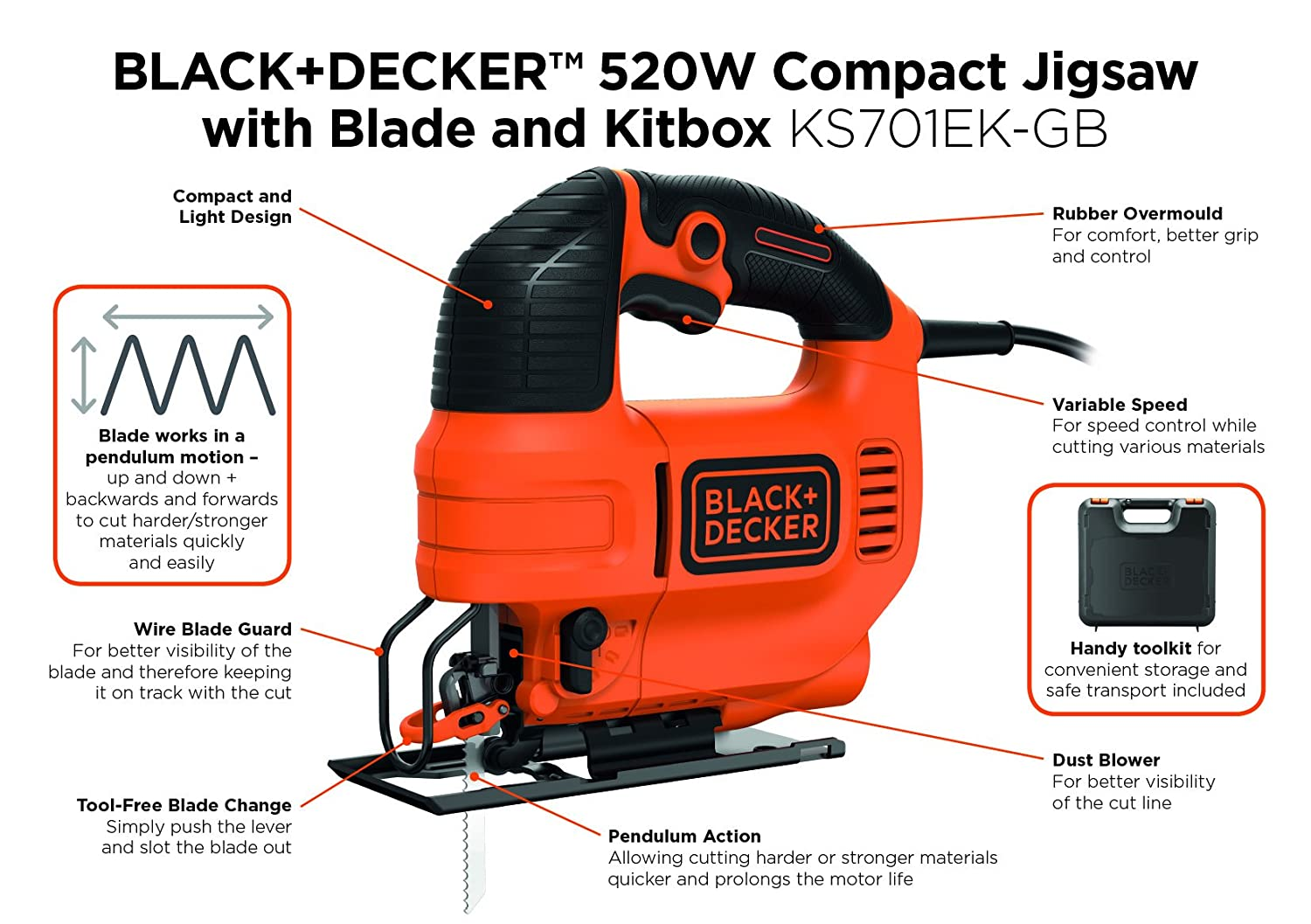 Blackdecker ks701ek gb compact jigsaw with blade 520 w amazon blackdecker ks701ek gb compact jigsaw with blade 520 w amazon diy tools greentooth Gallery