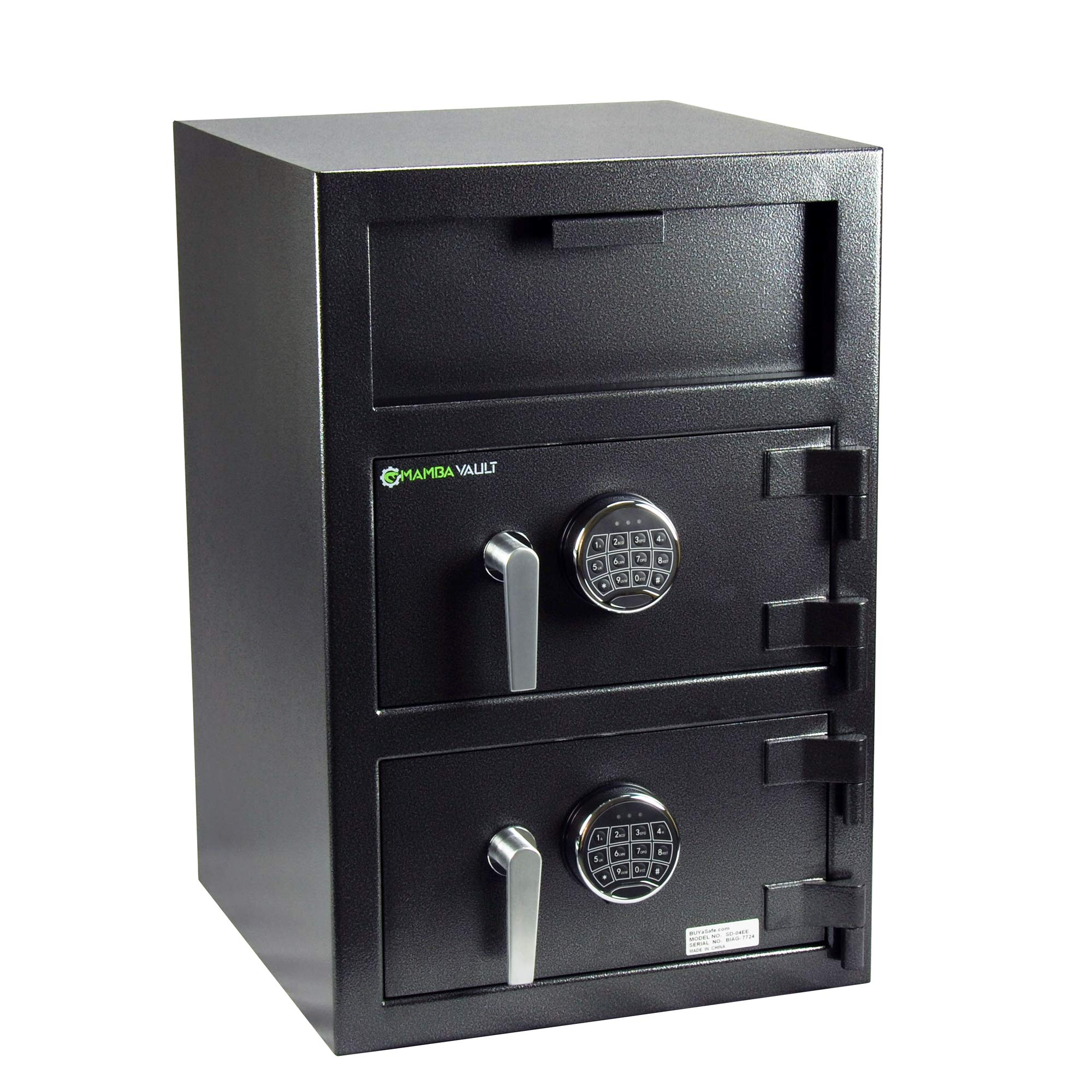 Depository Keypad Safe, Mamba Vault SD-04EE Deluxe Wide Body Dual-Door for Money Deposit, Front Loading Cash Drop with Electronic Digital Lock.