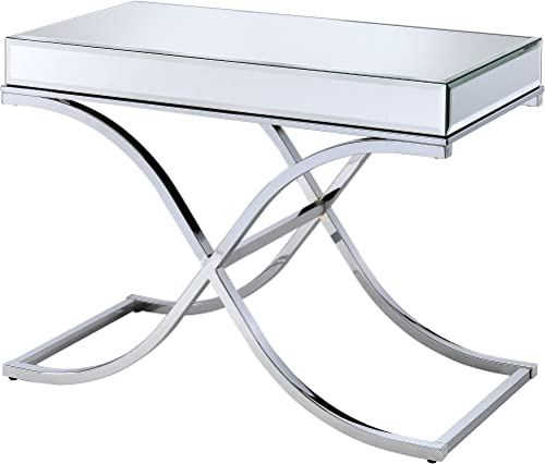 ACME Yuri Sofa Table – – Mirrored Top Chrome
