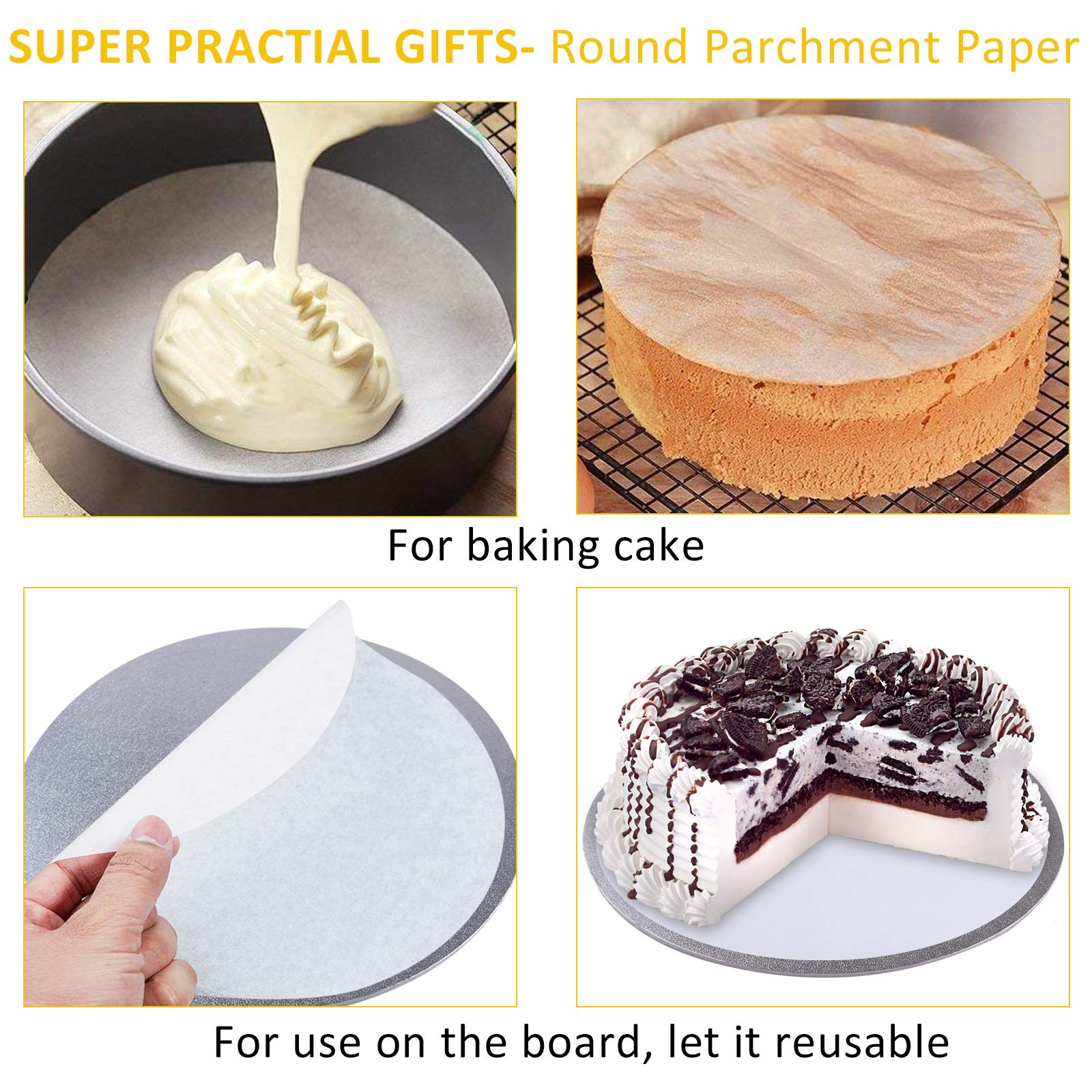 Bonviee Cake Drum, Sliver Round Cake Board 8 Inch 5mm Thickness Cake Circle Base Cardboard Grease Proof for Presenting Decorated Cakes (2 Pack)