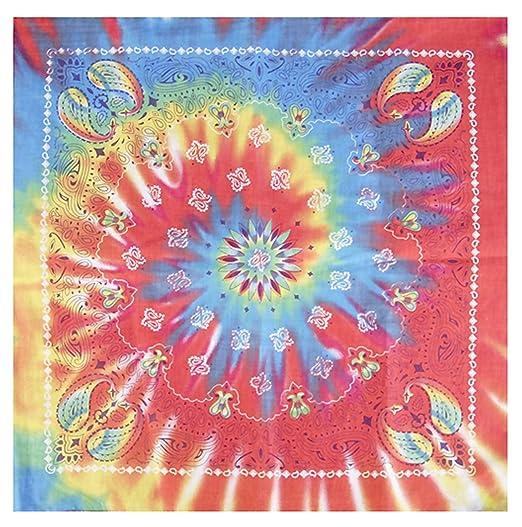 1b4f84de06c1 Amazon.com  Tie Dye Bandana 1960s Hippie Rainbow Colorful Paisley ...