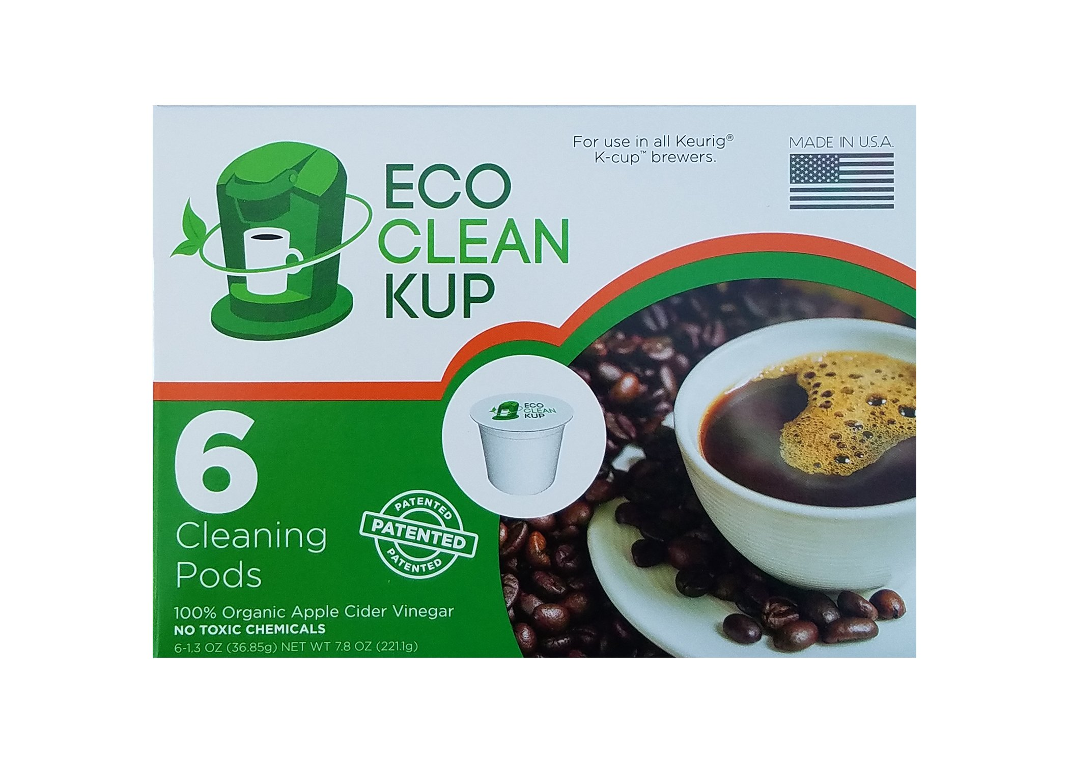 Eco Clean Kup Compatible with Keurig K-Cup 2.0 Machine Cleaning Pods by Eco Clean Kup - 6 Single Serve Cleaner Cups per Box