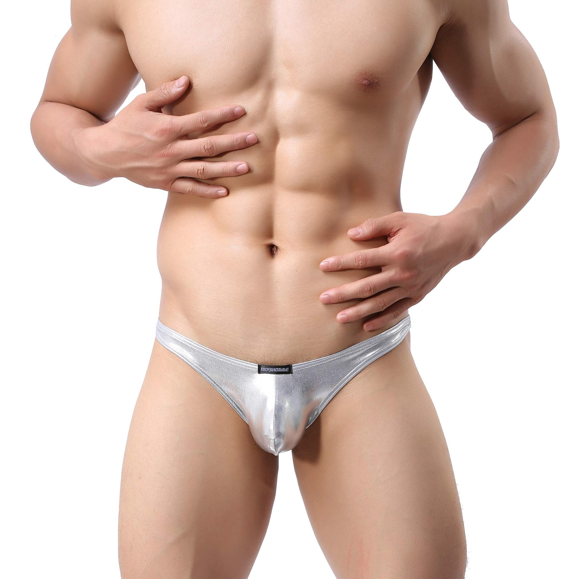 MuscleMate Super Hot Men's Thong Comfort Underwear, Low Raise Thong Underwear (M, Silver)