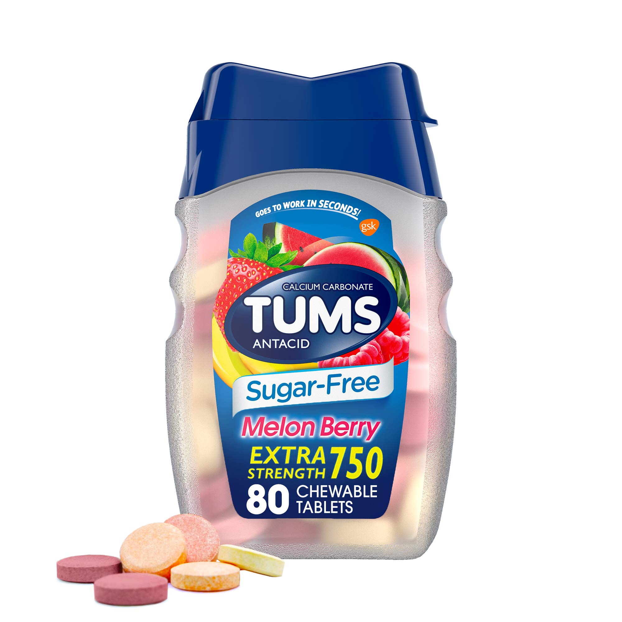 TUMS Extra Strength Sugar-Free Antacid Chewable Tablets, Melon Berry, 80Count