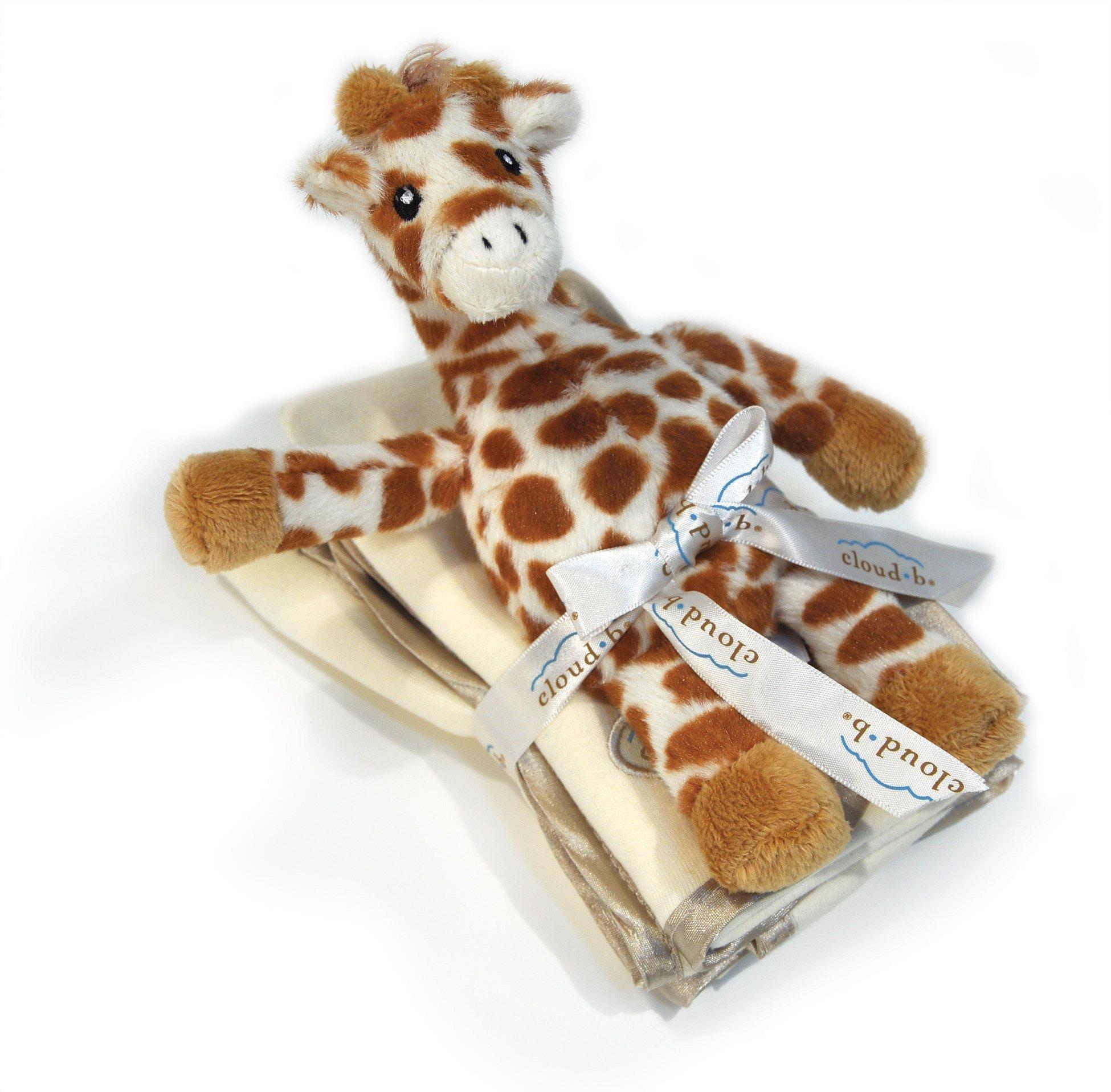 Cloud B Satin Trimmed 3 Pack of Burp Cloths with Giraffe Rattle