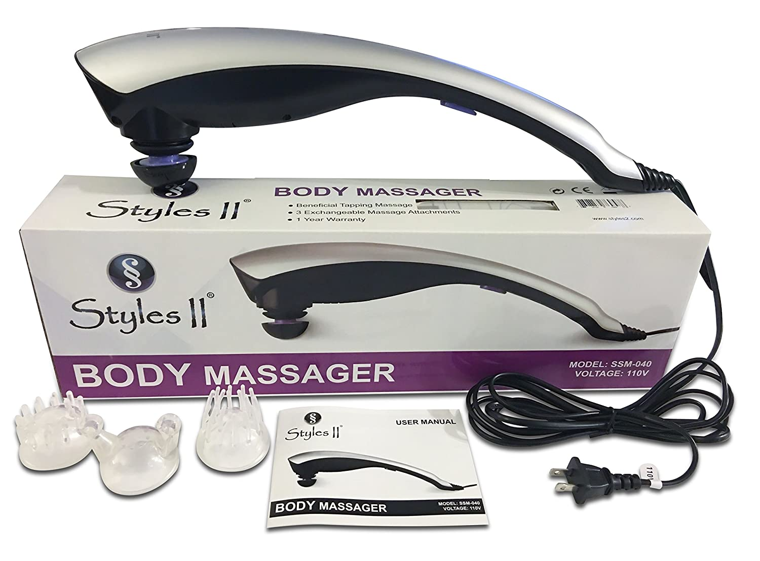 SS Styles II Therapeutic Percussion Body Massager – 3 Variable Attachments To Relieve Knots, Pains, Stiffness Fatigue In Neck, Shoulders, Feet, Hips, Back, Thigh More – Great For Home Travel Use