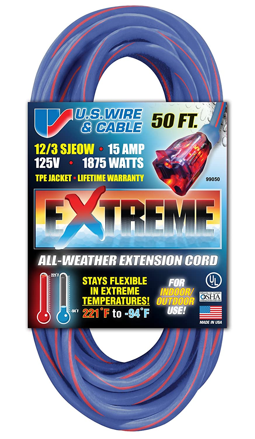 US Wire 99050 12/3 50-Foot SJEOW TPE Cold Weather Extension Cord ...