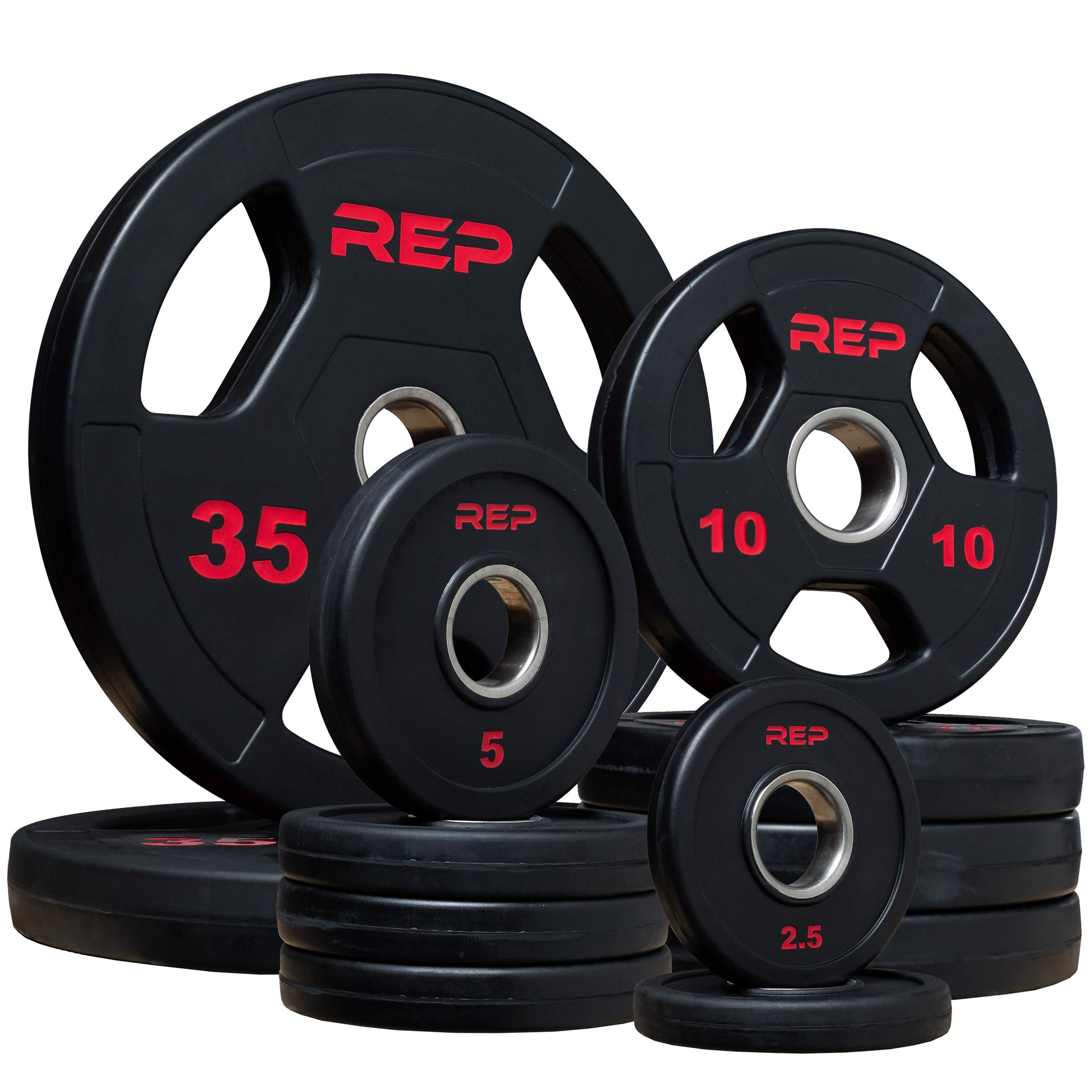 Rep Rubber Coated Olympic Plates - 135lb Set