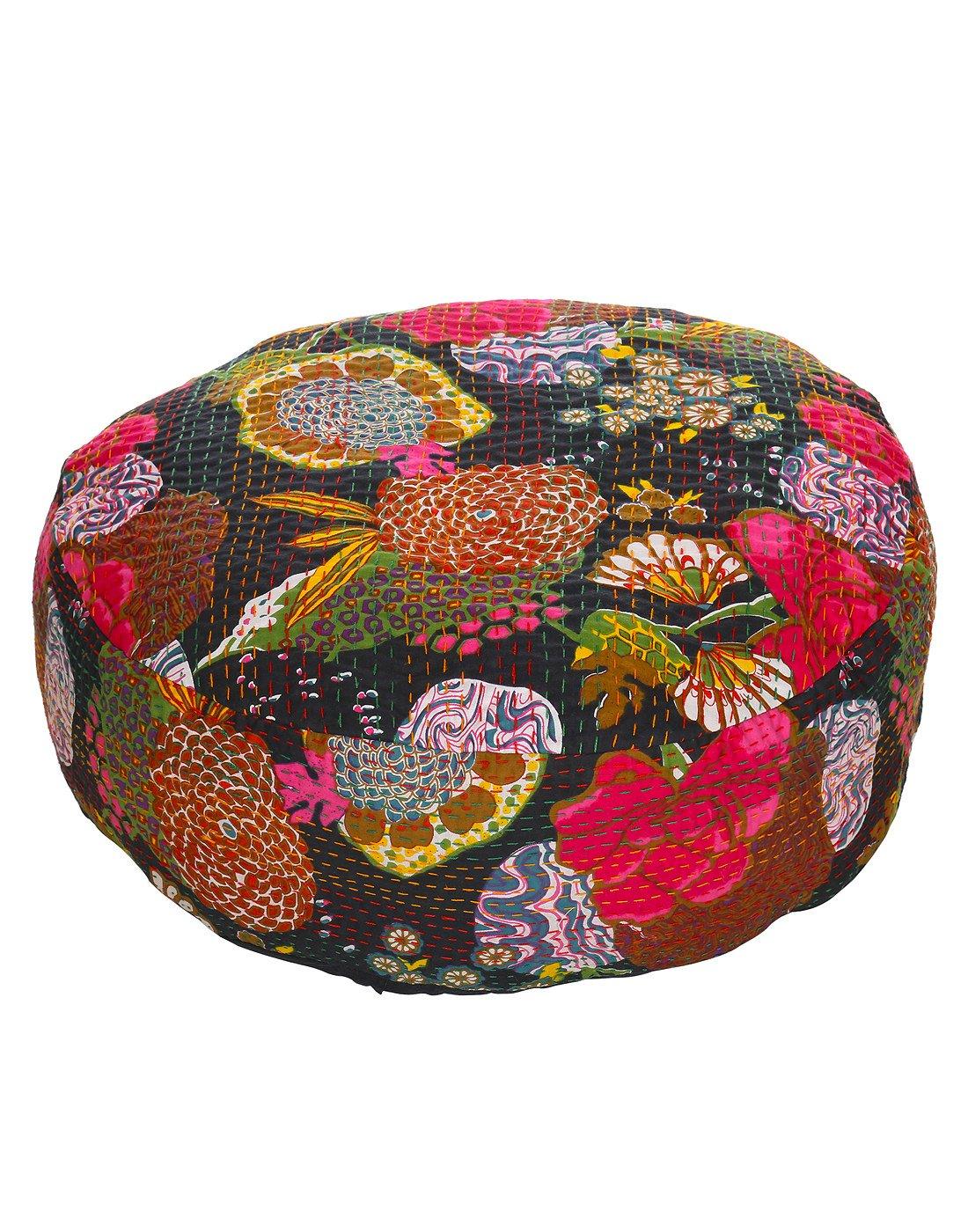 Rajrang Elegant Fruit Cushion Cover Black Cotton Kantha Work Cushion Cover OTM01131