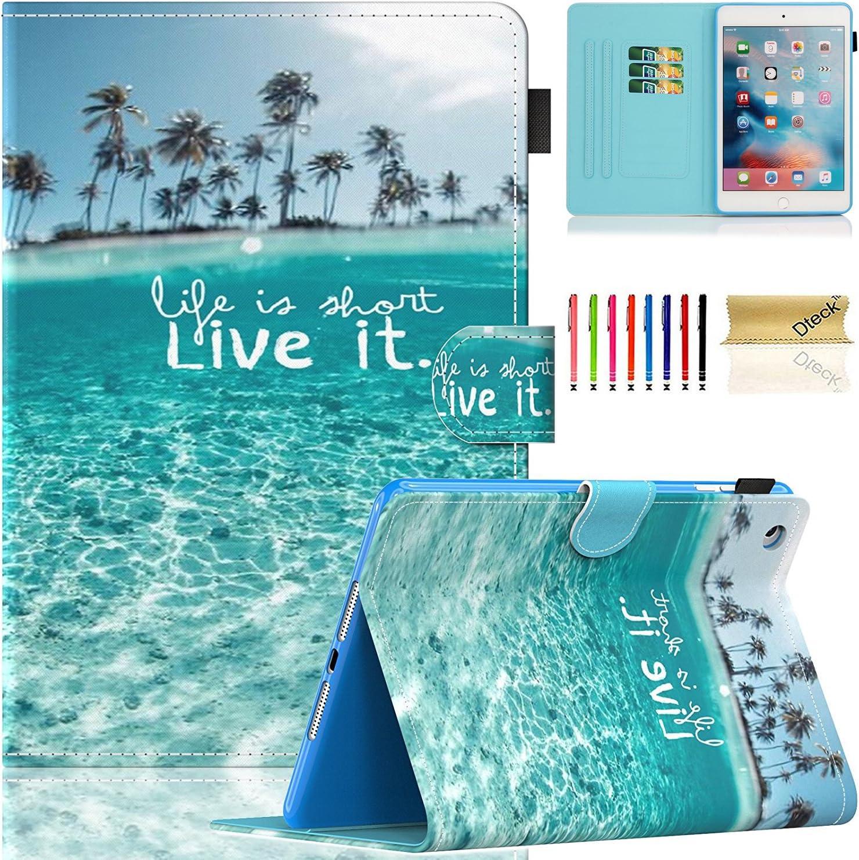 iPad Mini Case, Mini 2/3/4/5 Case, Dteck Slim Premium PU Leather Folio Stand Wallet Cover Smart with Auto Wake/Sleep Magnetic Case for Apple iPad Mini 1/ Mini 2/ Mini 3/ Mini 4/Mini 5, Beach
