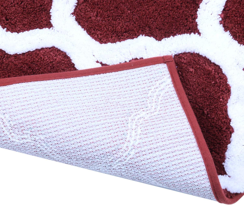 Pauwer Bath Rug Set 2 Piece Microfiber Absorbent Anti-skid Bathmat and Pedestal Mat Set Machine Washable Bathroom Rug and Toilet Mat U Shaped Contour Rug Burgundy, 53 x 86 cm+50 x 50 cm