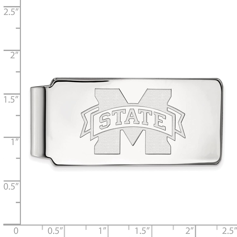 10k White Gold LogoArt Official Licensed Collegiate Mississippi State University MSU Money Clip