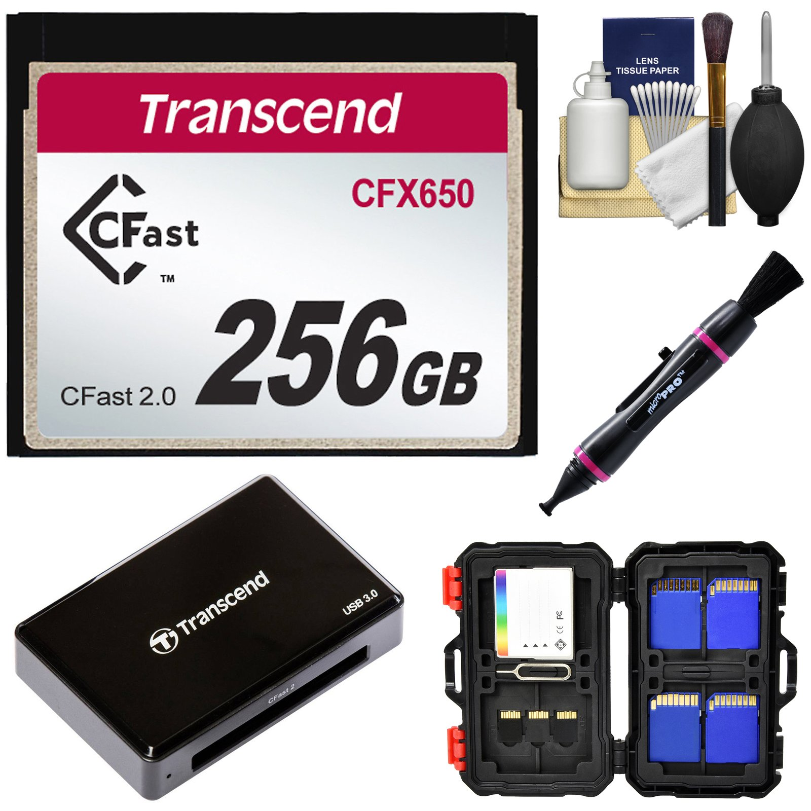 Transcend 256GB CFast 2.0 CFX650 Memory Card with Card Reader + Memory Card Case + Kit