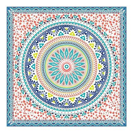 Orian Toalla Pareo Doble de Playa Microfibra de 150x150 cm. Mandala Grande Azúl.