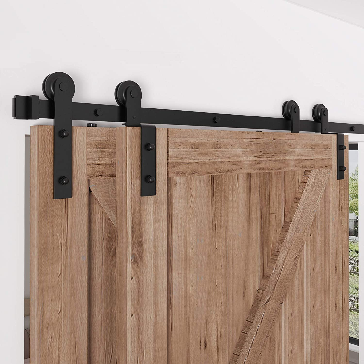 Zekoo 4 Ft 12 Ft Bypass Sliding Barn Door Hardware Kit Single Track Double Wooden Doors Use Flat Track Roller One Piece Rail Low Ceiling 6ft Single Track Bypass Home Improvement