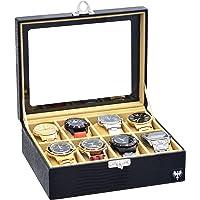 Porta-Relógios Total Luxo Couro Ecológico Preto Bege 8 Divisórias