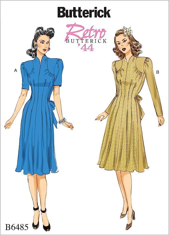 1940s Sewing Patterns – Dresses, Overalls, Lingerie etc Butterick Patterns 6485 A5Misses DressSizes 6-14 Tissue Multi-Colour 17 x 0.5 x 22 cm  AT vintagedancer.com