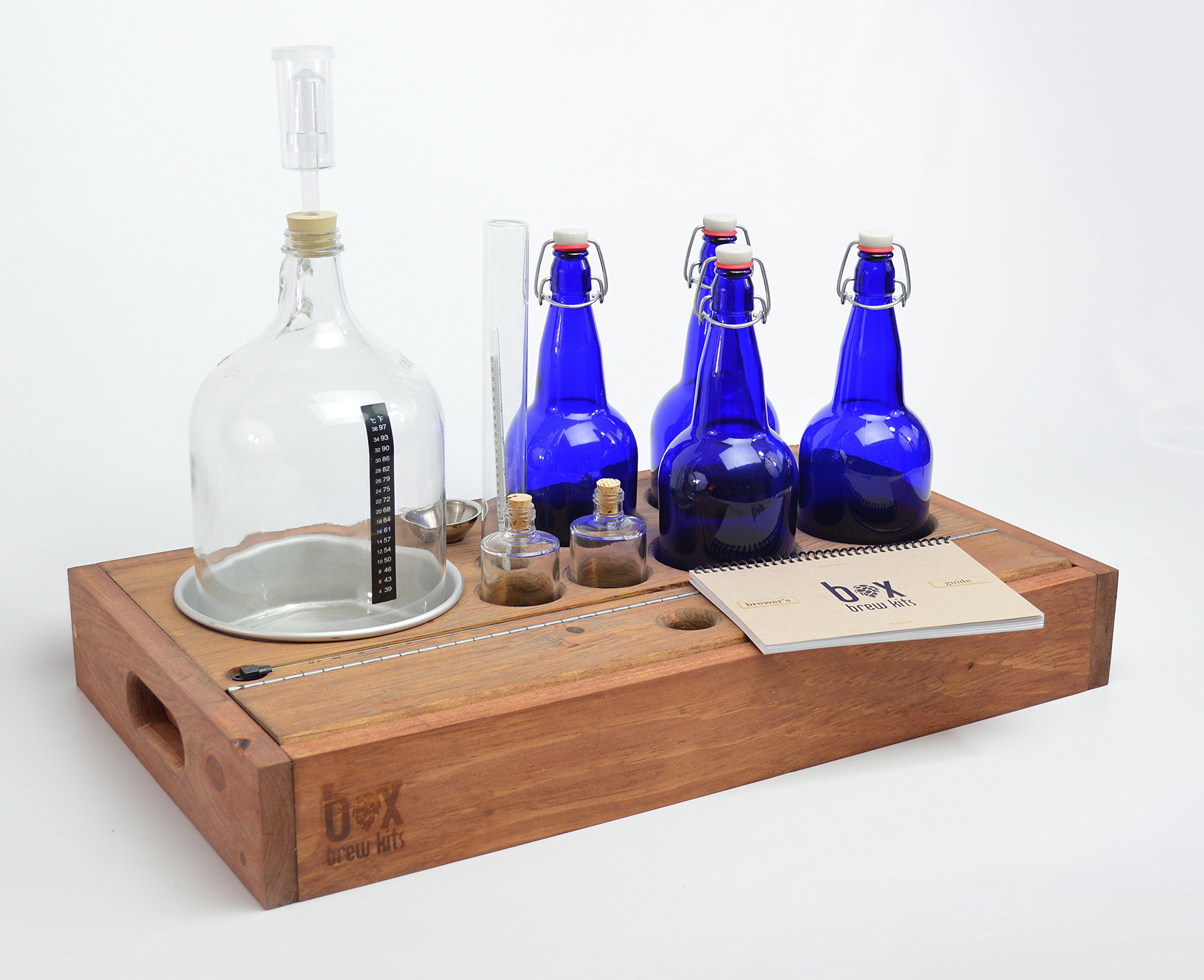 Handcrafted Small Batch Beer Making Home Brewing Kit with cobalt blue bottles