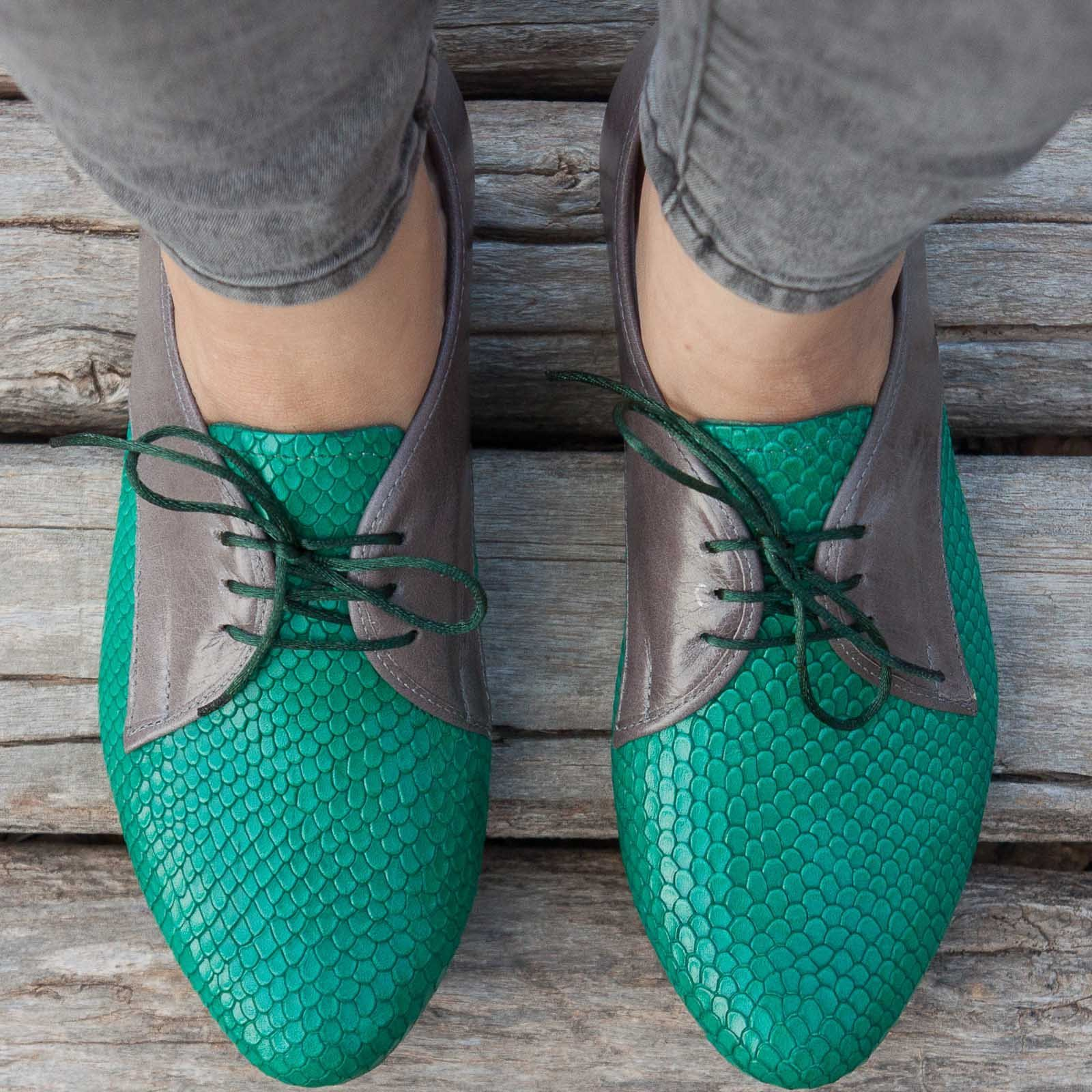 Green and Gray Handmade Leather Women's Oxford Shoes