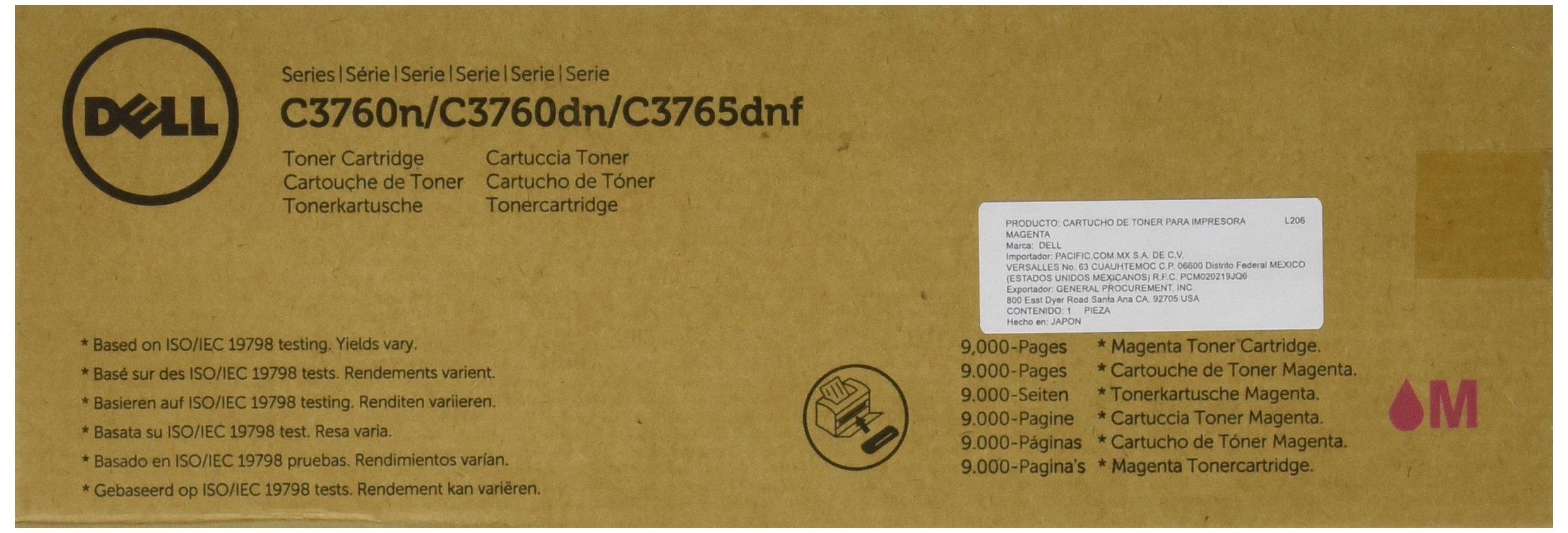 Toner Original DELL XKGFP C3760N/C3760DN/C3765DNF Color Laser